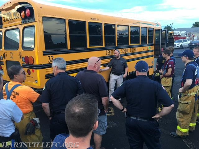 Members learn about the propane fueled  buses.