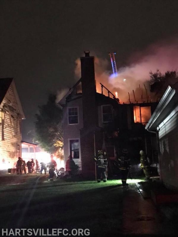 The entire roof of the residence was collapsed in