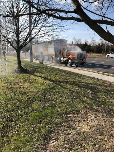 Tractor trailer fire on York Rd in Warwick