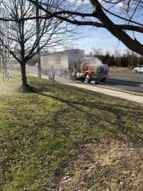 Tractor trailer fire on York Rd in Warwick